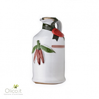 Handmade Ceramic Jar with Extra Virgin Olive Oil with Chili Pepper 250 ml