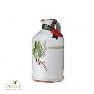 Cruche en Céramique avec Huile Extra Vierge d'Olive aromatisé au romarin