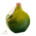 "Handmade Deruta Ceramic flask ""Green Fog"" with Extra Virgin Olive Oil"