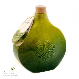 "Flasque en Céramique Deruta ""Green Fog"" avec Huile Extra Vierge d'Olive"