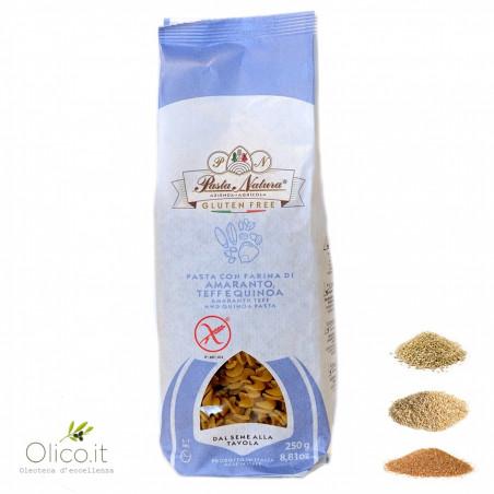 Fusilli Pâtes Sans Gluten avec Farine d'Amarante, Teff et Quinoa 250 gr