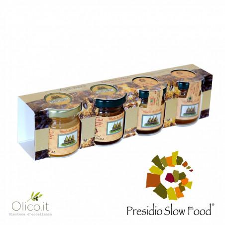 Set dégustation miels d'hiver Abeille Noire Sicilienne 40 gr x 4