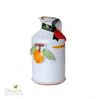 Handgemachter Keramiktopf  mit nativem Olivenöl mit Orange