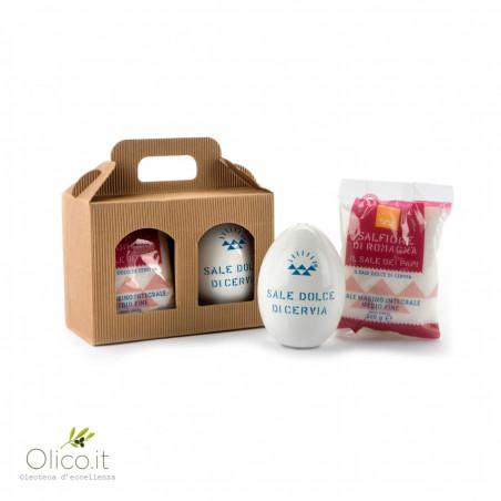 Gift box: ceramic egg salt shaker with Popes Salt