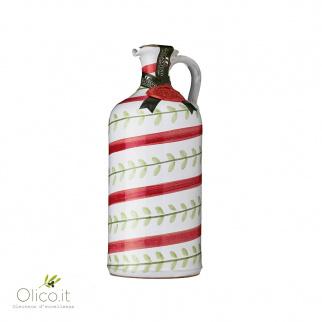 "Handmade Ceramic Jar ""Foglie"" with Extra Virgin Olive Oil"