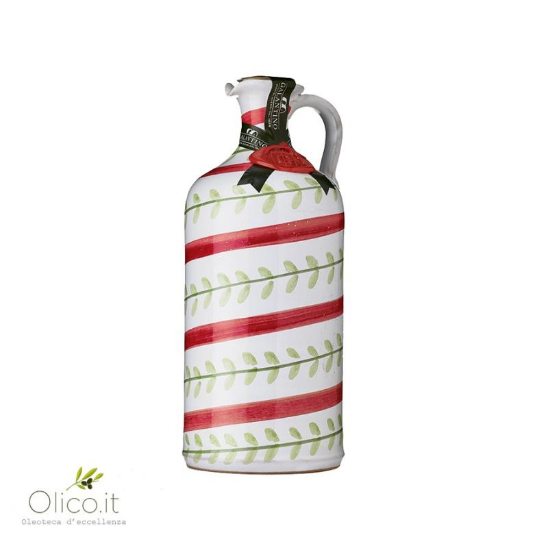 """Orcio in Ceramica """"Foglie"""" con Olio Extra Vergine"""