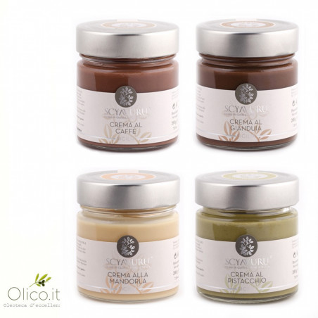 Sweet Cream Set: Kaffeesahne, Gianduiasahne, Mandelcreme, Pistaziencreme
