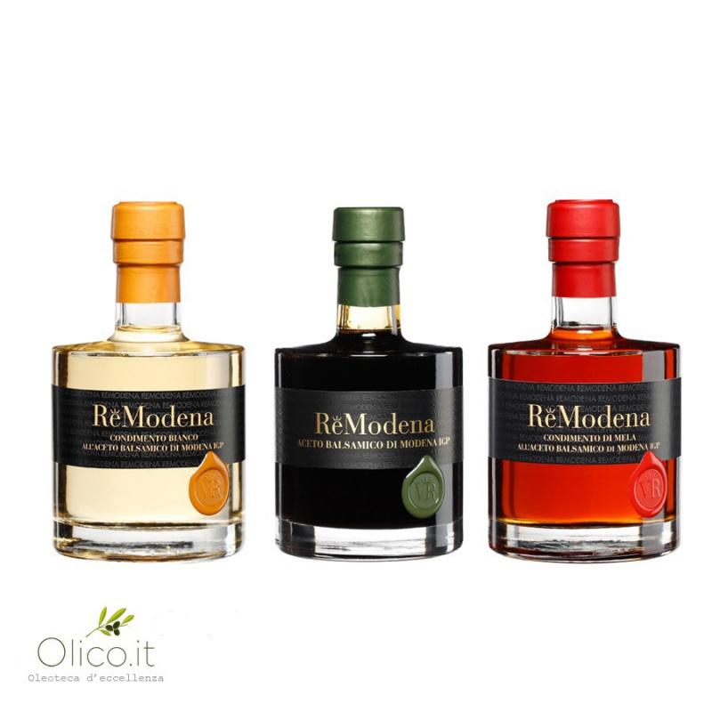 Tris Balsamic Wine Vinegar ReModena - White, classic PGI and Apple