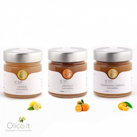Collectie citrusmarmelades: Citroen,  Sinaasappel en Late Mandarijn 250 gr x 3