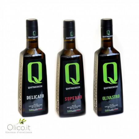 Selezione Olio Extra Vergine di Oliva Quattrociocchi         Delicato - Superbo - Olivastro 500 ml x 3