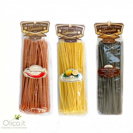 Set van 3 verschillende soorten Linguine Pasta - Chillipeper, Citoen & Inktvisinkt 500 x 3