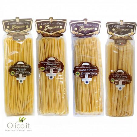 Gragnano PGI Long Pasta Set - Bucatini, Linguine, Spaghetti, Ziti 500 gr x 4