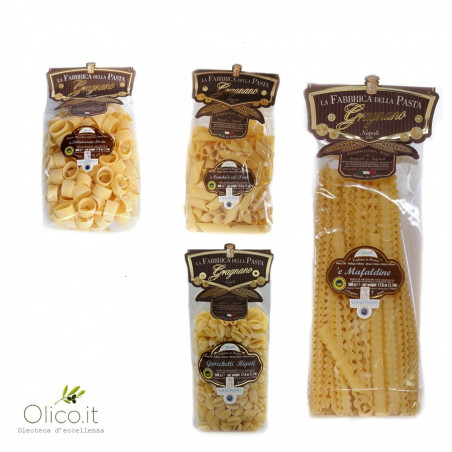 Minipack Diverse Pasta's uit Gragnano IGP - Calamarata, Pennoni, Mafaldine, Gnocchetti  500 gr x 4