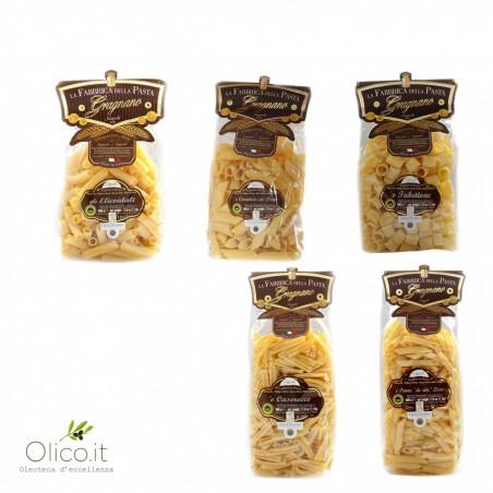 Everyday Pack Pasta di Gragnano IGP - Pennoni Penne Lisce Tubettoni Elicoidali Caserecce 500 gr x 5