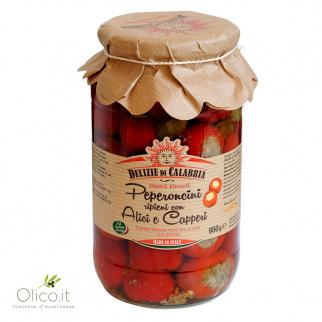 Kirschpaprika mit Sardellen und Kapern gefüllt