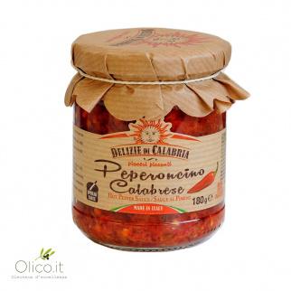 Condiment avec ail, huile et piment rouge de Calabre
