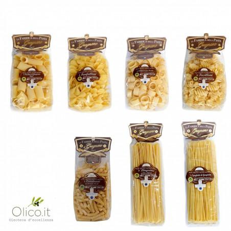 Multipaquete Pasta Gragnano IGP - Calamarata, Paccheri Rigati, Fusilloni, Linguine, Spaghetti, Farfalloni, Cavatappi 500 gr X 7