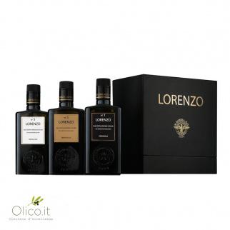 """Cadeaubox met een Selectie van 3 Extra Vergine Olijfolies """"I Tre Lorenzo"""" uit Barbera, Sicilië 500 ml x 3"""