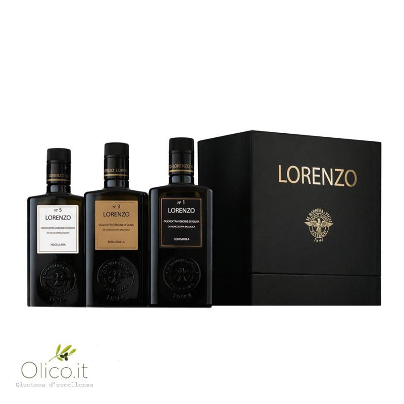 """Confezione regalo Olio Extra Vergine di Oliva """"I Tre Lorenzo"""" Barbera 500 ml x 3"""