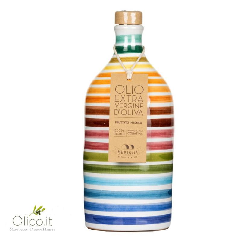 """Orcio in Ceramica """"Arcobaleno"""" con Olio Extra Vergine di Oliva Monocultivar Coratina 500 ml"""