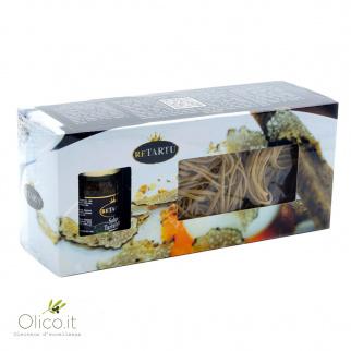 Geschenkpaket Schwarzer Trüffel: Pasta 250 gr und Soße 50 gr