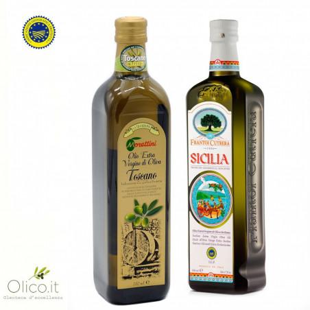 I due IGP - Olio Extra Vergine di Oliva Toscano e Siciliano 750 ml + 500 ml