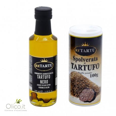 Black Truffle Set: Summer Truffle Powder 100 gr and Extra Virgin Olive oil Condiment 100 ml
