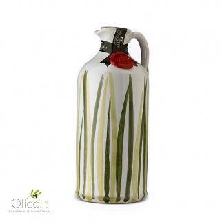 "Handmade Ceramic Jar ""Prato"" with Extra Virgin Olive Oil 500 ml"