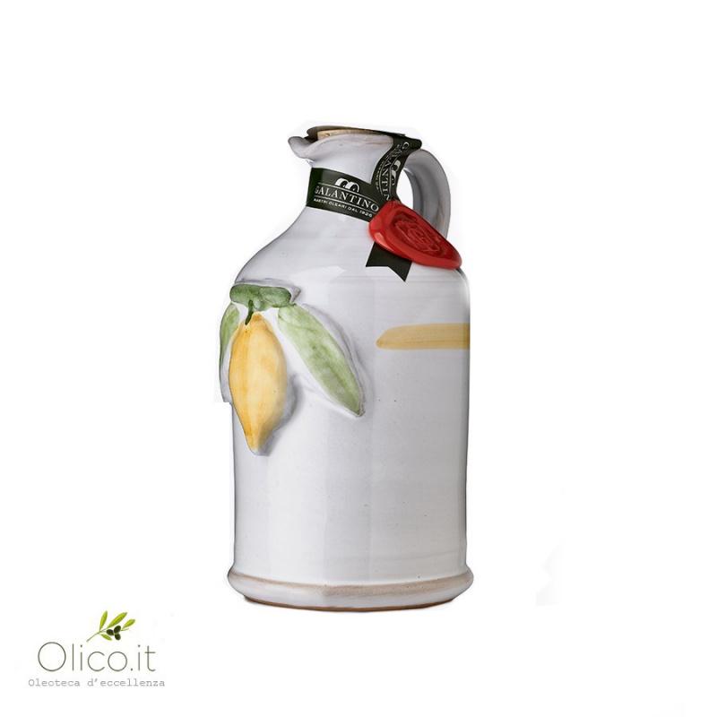 Handmade Ceramic Jar with Extra Virgin Olive Oil and Lemon 250 ml