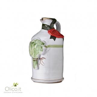 Handgemachter Keramiktonkrug mit Olivenöl und Basilikum 250 ml