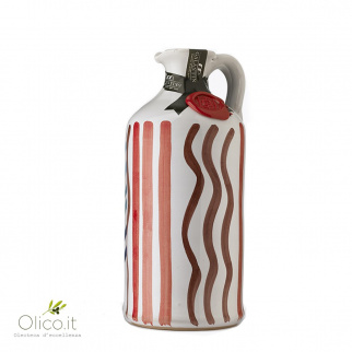 Handgemachter Keramiktonkrug mit Natives Olivenöl Affiorato 500 ml