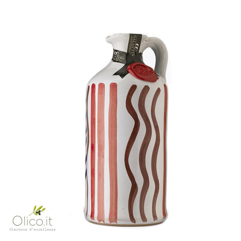 Orcio in Ceramica con Olio Extra Vergine di Oliva Affiorato 500 ml