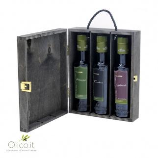 Coffret en bois 3 Huiles d'Olive Extra Vierge Monovariétales Galantino 250 ml x 3