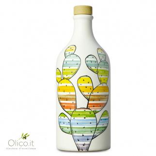 """Tarro de cerámica """"Fico d'India"""" con Aceite de oliva virgen extra Monocultivar Peranzana 500 ml"""