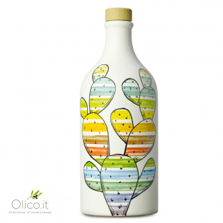 "Handmade Ceramic Jar ""Fico d'India"" with Monocultivar Peranzana Extra Virgin Olive Oil 500 ml"
