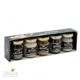 Set van 5 Italiaanse Truffel Specialiteiten  - Salsa Crème Zeezout Honing en Parmezaanse Kaas