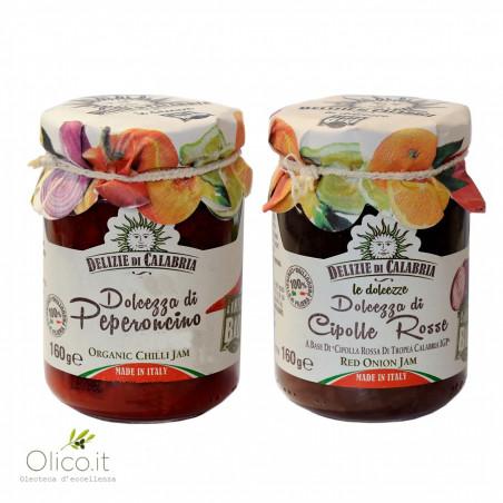 Confituras Biológicas Delizie di Calabria: Cebolla Roja de Tropea Calabria IGP y Pimiento 160 gr x 2