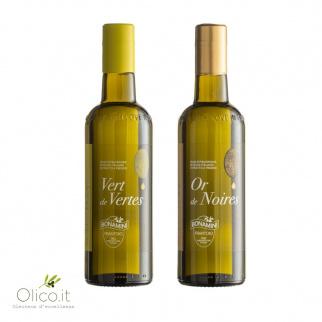 Set van Bonamini Extra Vergine Olijfolies - Groene Olijf & Zwarte Olijven 500 ml x 2