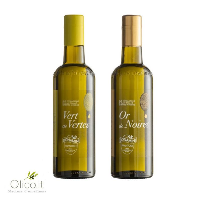 Selezione Olio Extra Vergine di Oliva Bonamini Vert de Vertes e Or de Noires 500 ml x 2