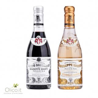 Duetto Aceto Giusti: Balsamico di Modena IGP 1 Medaglia Argento e Condimento Bianco 250 ml x 2