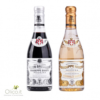 Giusti Vinegar Duo: Balsamic Vinegar of Modena PGI 1 Silver Medal and White Vinegar Dressing 250 ml x 2