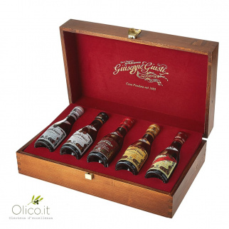 Wooden Coffer Complete Collection Balsamic Vinegar of Modena Giuseppe Giusti 100 ml x 5