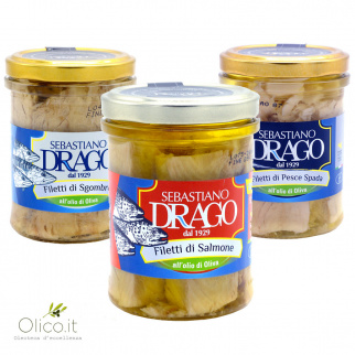 Fish Fillets in Olive Oil Sebastiano Drago: Mackerel, Salmon, Swordfish 200 gr x 3