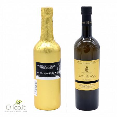 Auswahl an 2 zarten nativen Olivenölen: Biancolilla und Taggiasca
