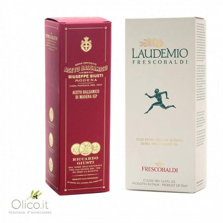 Giusti y Frescobaldi Set: Vinagre Balsámico de Módena IGP 3 Medallas Oro 250 ml y Aceite de Oliva Virgen Extra Laudemio 500 ml
