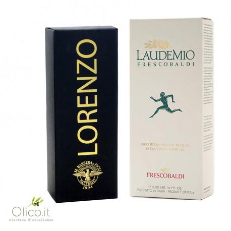 Set Cadeau Black and White: Huile d'olive Extra Vierge Dénoyautée Lorenzo n°5 et Laudemio Frescobaldi 500 ml x 2