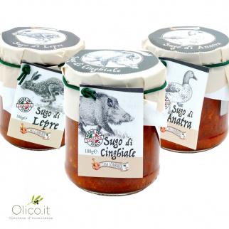 Las tres Salsas Ragù Lombardi: Liebre Jabalí y Pato 180 gr x 3