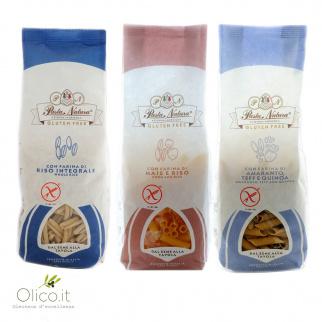Trio Glutenvrije Granenpasta: Volkoren Rijst, Mais en Rijst, Amarant Teff en Quinoa 250 gr x 3