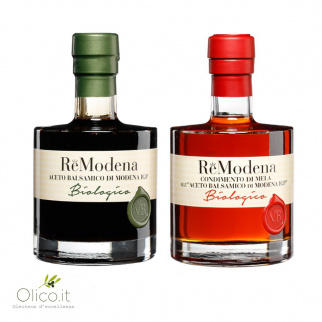 Duo ReModena Organic Balsamic Vinegar: Apple Dressing and Balsamic of Modena PGI 250 ml x 2