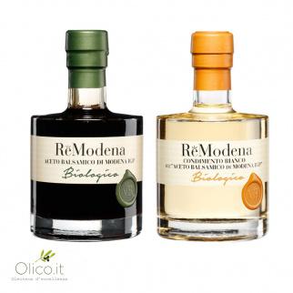 Bis Aceto Balsamico Biologico ReModena: Condimento Bianco e Classico di Modena IGP 250 ml x 2